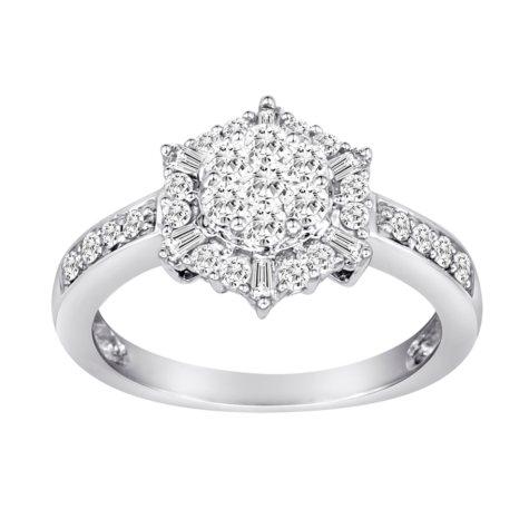 0.75 CT. T.W. Royal Star Diamond Ring in 14K White Gold (H-I, I1)