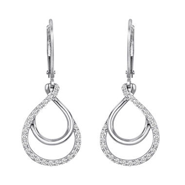 0.25 CT. T.W. Diamond Hoop-in-Hoop Earrings in Sterling Silver (H-I, I1)