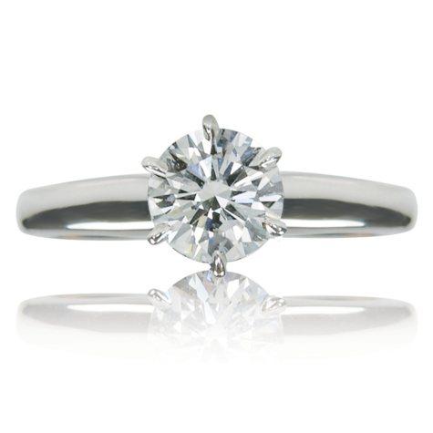 1.15 CT. T.W. Round Brilliant Cut Diamond Solitaire Engagement Ring in 14k White Gold (I, VS2) IGI