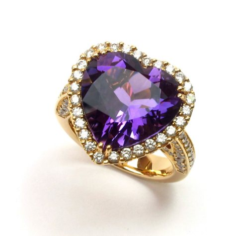 11.91 CT. Heart-Shaped Amethyst, Violet Sapphire & Diamond Ring in 18K Rose Gold (G-H, SI1-SI2)