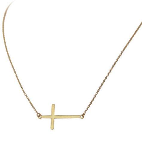 14K Yellow Gold Sideways Cross Necklace