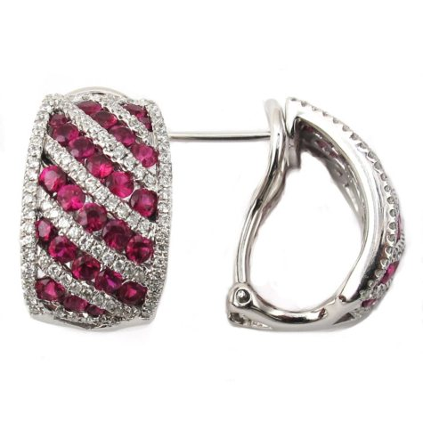Round Ruby and Diamond Earrings in 18K White Gold (H, I1)