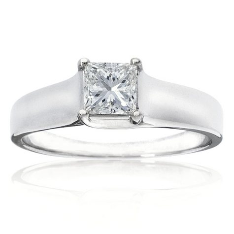 0.25 ct. Princess Diamond Solitaire Ring in 14k White Gold (H-I, I1)