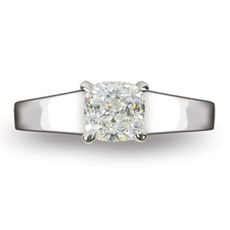 1.10 ct. Cushion Cut Diamond 14k White Gold Solitaire Ring (D, VS2)