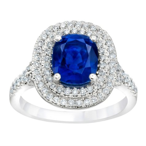 3.56 CT. TW. Blue Sapphire Double Halo Ring in Platinum