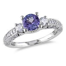 1.50 ct. t.w. Diamond and Tanzanite Engagement Ring in 14K White Gold