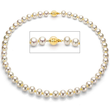 Freshwater Pearl Necklace with 14KY Gold Beads