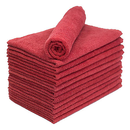 Bleachsafe Salon Hand Towels, Red (24 pack)