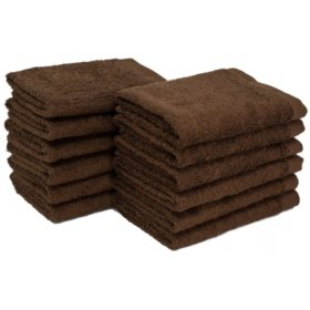 "Bleachsafe 13""x13"" Wash Cloths, Brown (24 pack)"