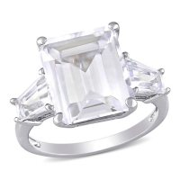 Emerald Cut and Taper Baguettes White Topaz Three Stone Ring in Sterling Silver