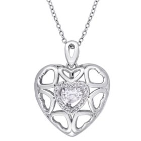 "Dancing White Topaz 1.26 CT. Multi-Heart Locket Pendant with 18"" Sterling Silver Chain"