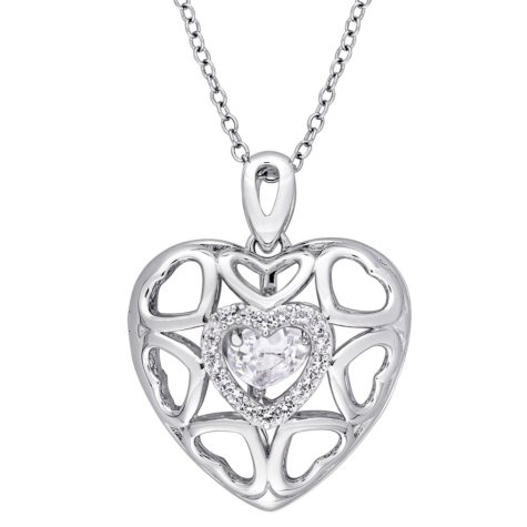 """Dancing White Topaz 1.26 CT. Multi-Heart Locket Pendant with 18"""" Sterling Silver Chain"""
