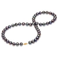Black Freshwater Pearl Strand Necklace