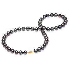 7-8 mm Black Freshwater Pearl Strand Necklace (Assorted Lengths)
