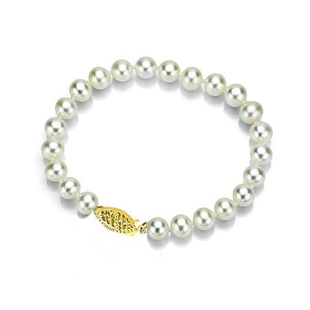 """6.5-8 mm White Akoya Pearl Bracelet, 7"""""""