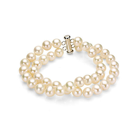 """7-8 mm Freshwater Pearl 2-Row Bracelet with Sterling Silver Clasp, 7.25"""" (Assorted Colors)"""
