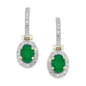 Emerald and Diamond Earrings in 14K Yellow Gold