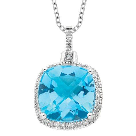 Blue Topaz with Diamond Pendant in 14K White Gold