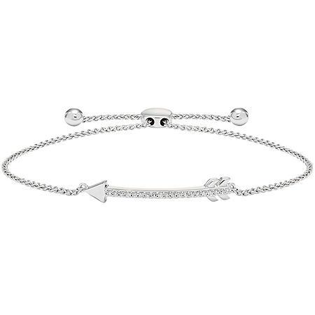 25f5d5724d97cd Sterling Silver and 0.20 CT. T.W. Diamond Bolo Arrow Bracelet ...