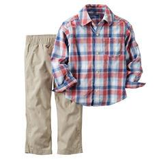 Carters Boy's 2 Piece Playwear Set - Orange/Blue
