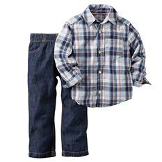 Carters Boy's 2 Piece Playwear Set - BluePlaid