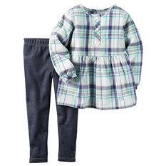 Carters Girl's 2 Piece Playwear Set - Purple/Green