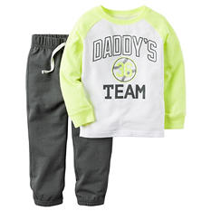 Carters Boy's 2 Piece Playwear Set - Yellow/Grey