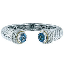 Gem RoManse Blue Topaz Cuff in Sterling Silver and 18K Gold