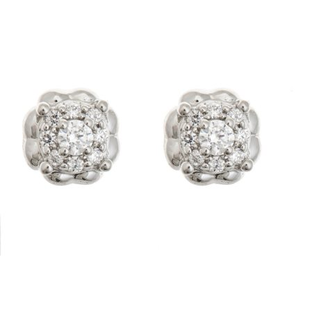 0.30 CT. T.W. Diamond Heart Frame Earrings in Sterling Silver
