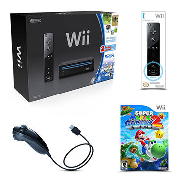 Black Wii Console (includes 1 remote and 1 nunhcuk) with Sports, Sports Resort, 1 Remote, 1 Nunchuk, and 1 Game
