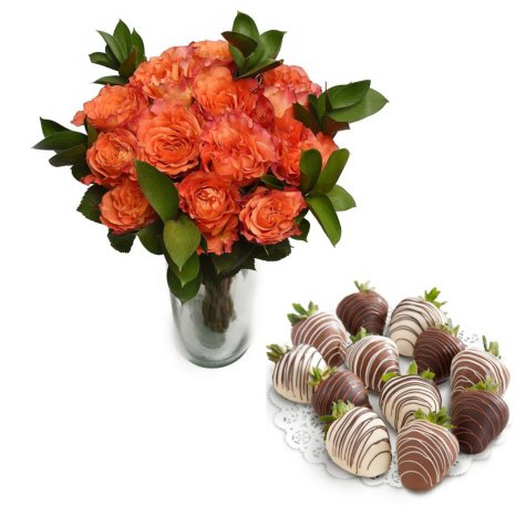 Free Spirit Rose Bouquet and Chocolate Covered Strawberries