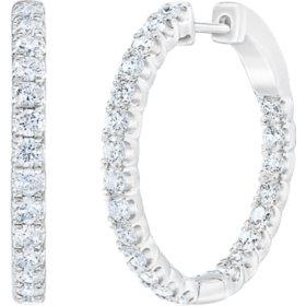 1.95 CT. T.W. Diamond Hoop Earrings in 14K White Gold