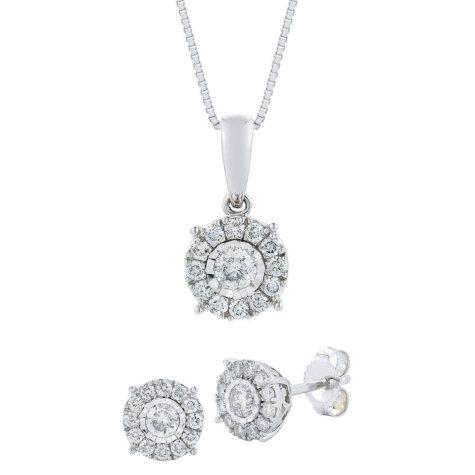 .60 CT. T.W. Diamond Earring & Pendant Set in 14K White Gold
