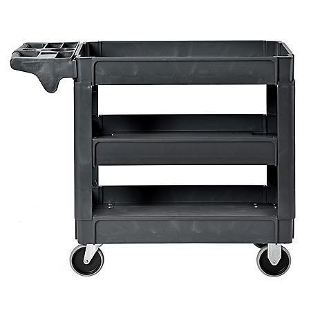 "Sandusky 3-Shelf Plastic Utility Cart with 5"" Casters"