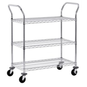 Sandusky 3-Tier Chrome Wire Cart