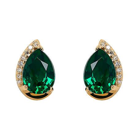 Pear Shape Emerald Earrings with Diamonds in 14K Yellow Gold