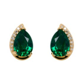 Pear Shape Lab Created Emerald Earrings with Diamonds in 14K Yellow Gold