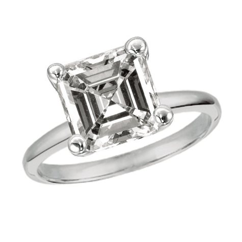 1.00 CT. TW. Asscher-Cut Diamond Solitaire Ring 14K White Gold (G, VS1)