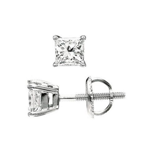 0.50 ct. t.w. Princess-Cut Diamond Stud Earrings 14K White Gold (I, VS2)