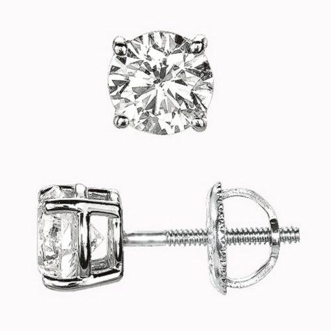 1.00 ct. t.w. Round-Cut Diamond Stud Earrings in Platinum (I, VS2)