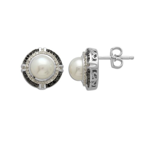 7mm Freshwater Cultured Pearl Earrings with 0.34 CT. T.W. Black and White Diamonds in Sterling Silver