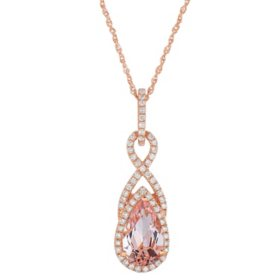 Pear Shaped Morganite Pendant with Diamonds in 14K Rose Gold