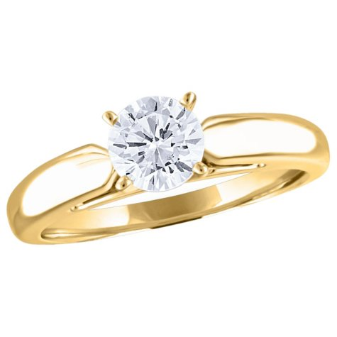 0.72 CT. Round Diamond Solitaire Ring in 14K Yellow Gold (I, I1)