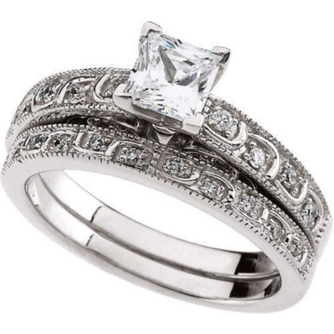 0.97 ct. t.w. Vintage-Style Diamond Engagement Ring Set (I, I1)