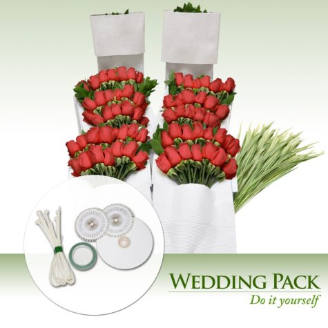 Do-It-Yourself Wedding Flowers Kit, Red Roses (200 stems)