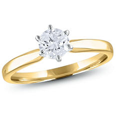 0.47 CT. Round Diamond Solitaire Ring in 18K Yellow Gold with Platinum Head (H, VS2)