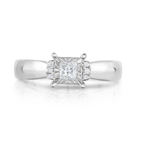 0.45 ct. t.w. Princess Cut Diamond Engagement Ring in 14K White Gold