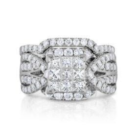 1.95 CT. T.W. Diamond Wedding Ring Set in 14K White Gold
