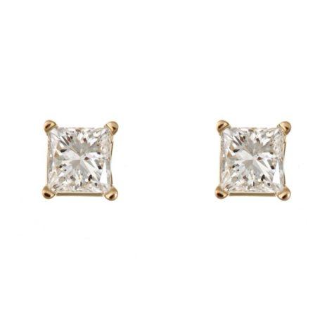 1.95 CT.T.W. Princess-Cut Diamond Stud Earrings in 14K Yellow Gold (H-I, SI2)