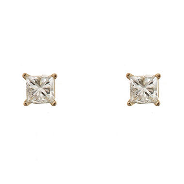 0.47 CT.T.W. Princess-Cut Diamond Stud Earrings in 14K Yellow Gold (H-I, SI2)